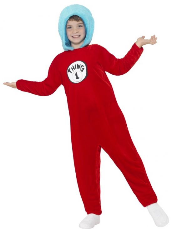 Thing 1 or Thing 2 Costume, Red, with Hooded Jumpsuit & 2 Badges