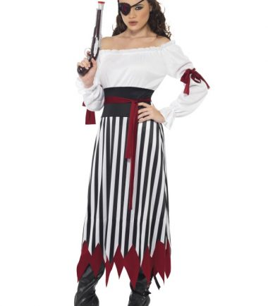 Pirate Lady Costume, Dress With Arm Ties, Belt and Headpiece