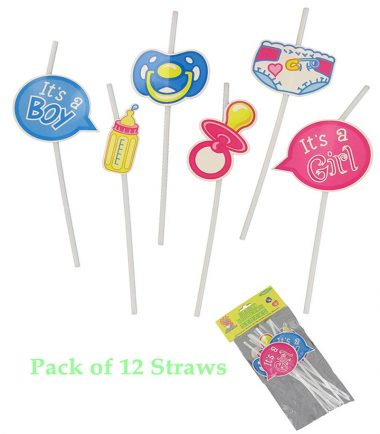 Pack of 12 Baby Shower Straws in Assorted Designs. Will Look Great on Your Baby Shower Table.
