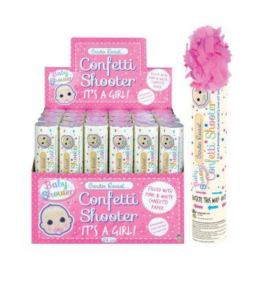 Gender Reveal 20cm Confetti Cannon Girl