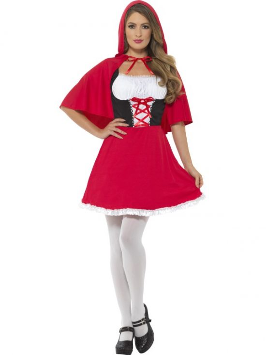 Red Riding Hood Costume, Short Dress Red Riding Hood Costume, Red, with Short Dress & Cape