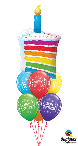 Rainbow Cake Candles Display 42 Foil Balloon With 2 Layers Of 11
