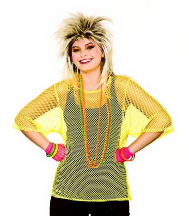80's Neon Yellow Mesh Top