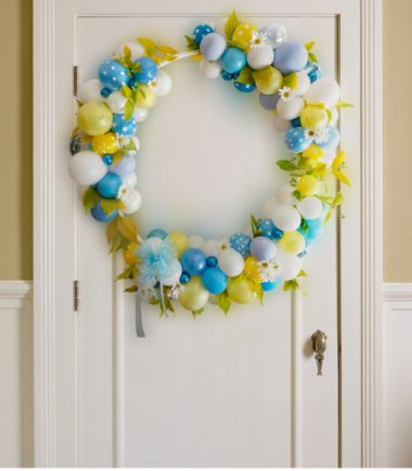 Wreath on the Door Yellow and Blue