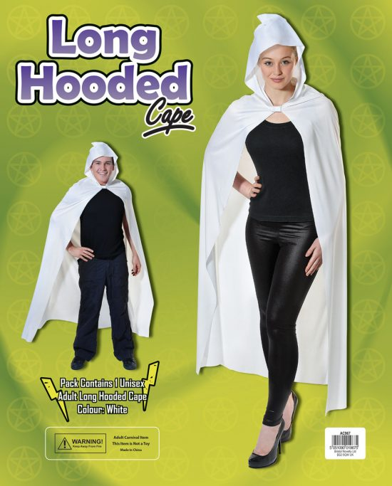 Long White Hooded Cape