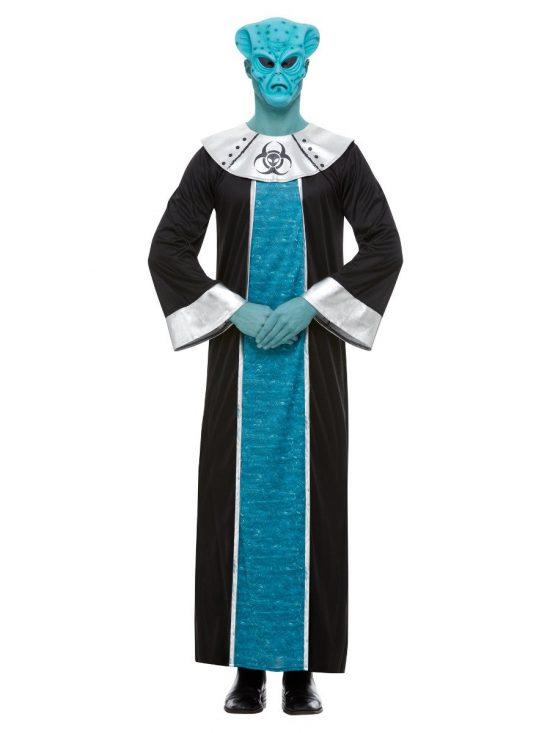 Alien Costume, Blue, with Robe & EVA Mask.