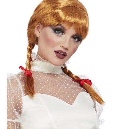 Porcelain Doll Auburn Wig