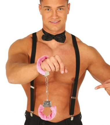 metal handcuffs with pink fur